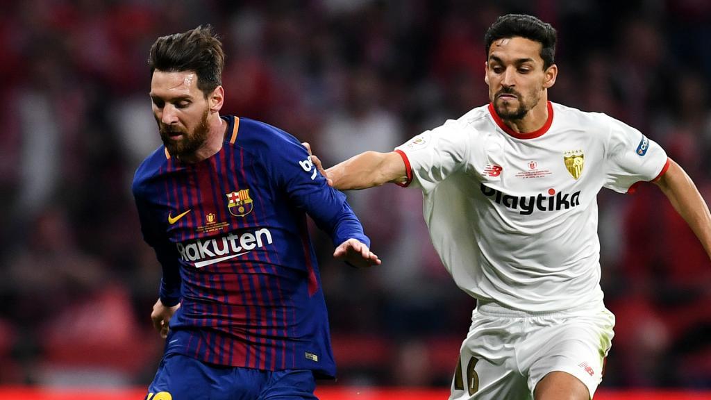 Lionel Messi and Jesus Navas.